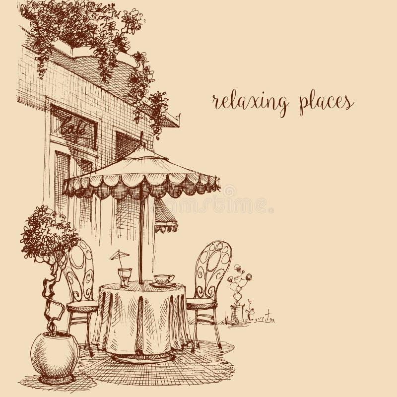 Bosquejo del exterior del restaurante stock de ilustración