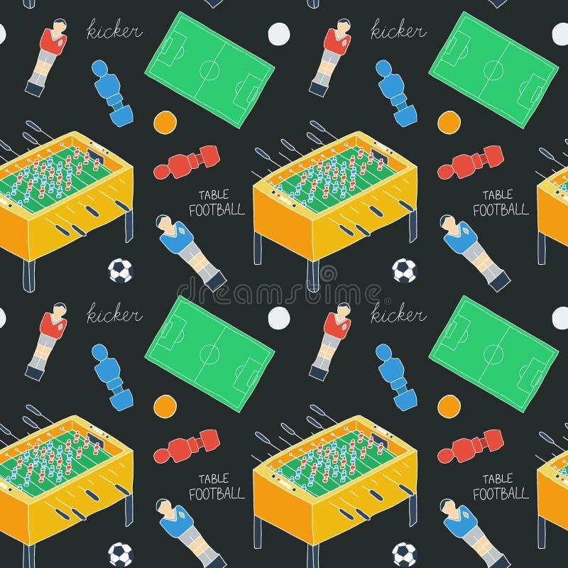 Bosquejo del fútbol de la tabla Modelo inconsútil con los iconos a mano de la historieta - jugador pasado de moda del foosball, b libre illustration
