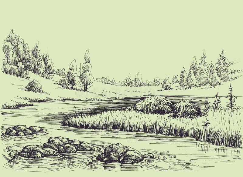 Bosquejo del flujo del río stock de ilustración