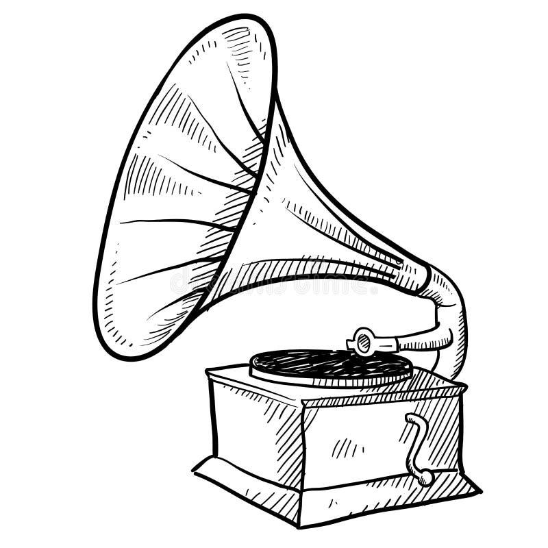 Bosquejo del fonógrafo ilustración del vector