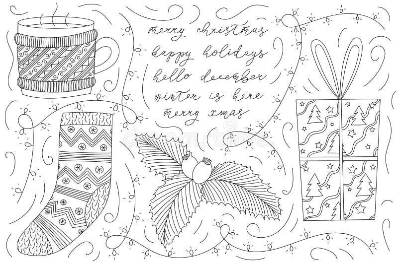 Bosquejo del garabato de la Navidad del vector con la taza de café, taza de té que lleva un suéter, el calcetín de santa, arándan libre illustration