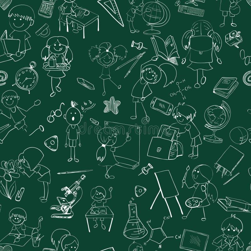 Bosquejo del garabato de los niños de la escuela inconsútil libre illustration