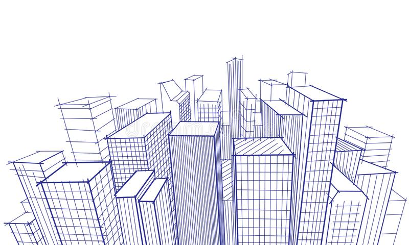 Bosquejo del garabato del paisaje urbano ilustración del vector