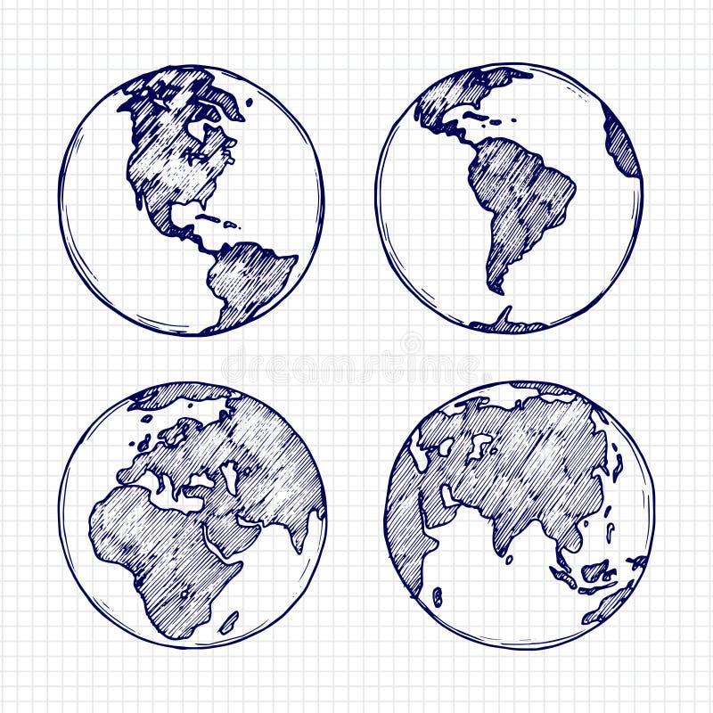 Bosquejo del globo Planeta exhausto de la tierra de la mano con el ejemplo del vector de los continentes ilustración del vector