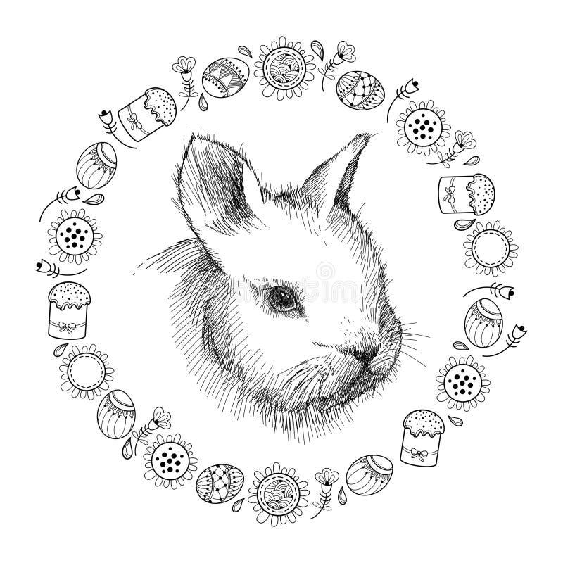 Bosquejo del gráfico de vector del perfil del conejo del bebé y del bastidor redondo con los símbolos de Pascua en negro aislados ilustración del vector