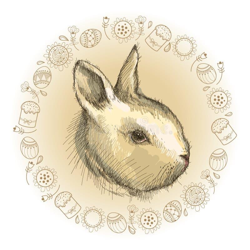 Bosquejo del gráfico de vector del perfil del conejo del bebé y del bastidor redondo en beige con los símbolos de Pascua en el fo libre illustration