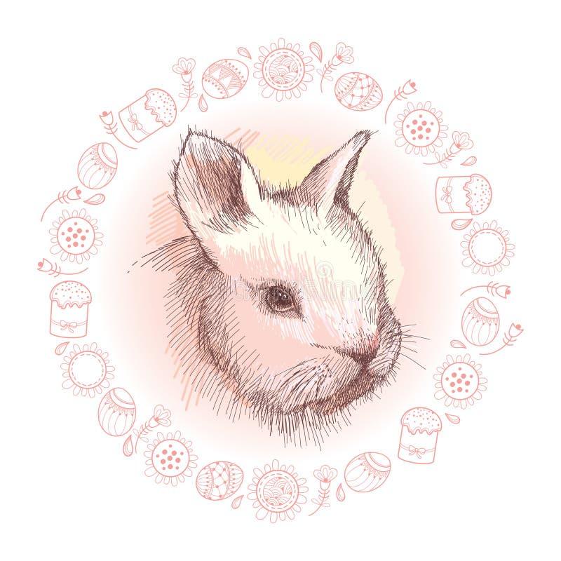 Bosquejo del gráfico de vector del perfil del conejo del bebé y del bastidor redondo en rosa con los símbolos de Pascua aislados  libre illustration