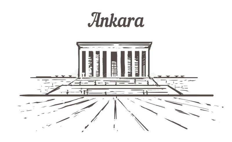 Bosquejo del horizonte de Ankara, un ejemplo exhausto de la mano del tkabir stock de ilustración