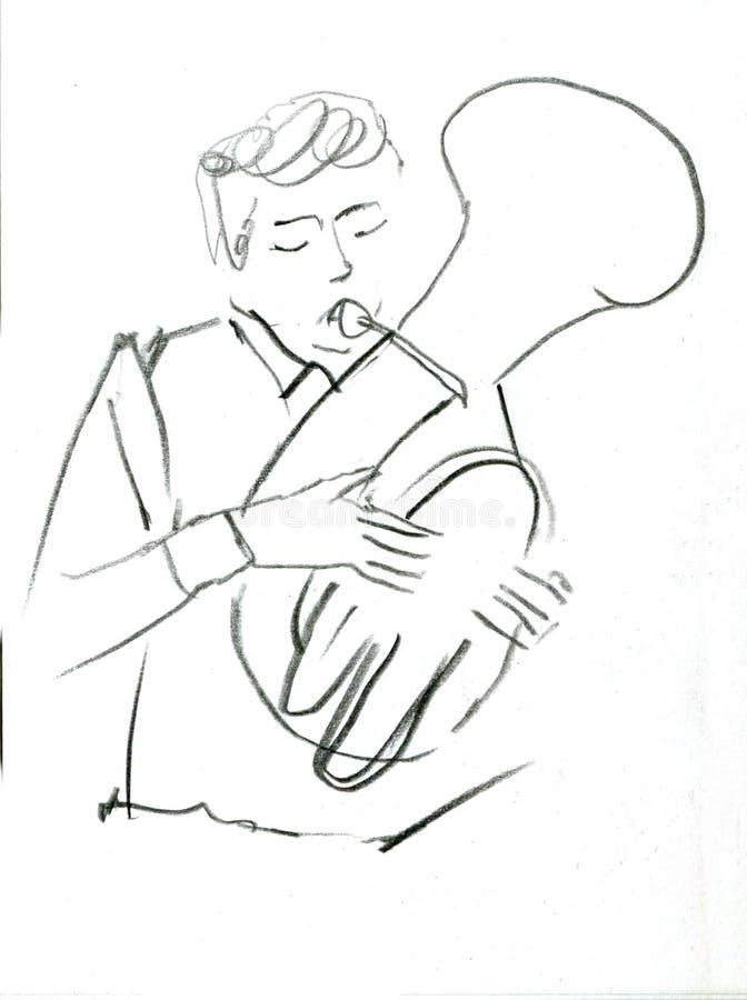 Bosquejo del instrumento musical de la banda de cobre amarillo de cobre de la orquesta stock de ilustración