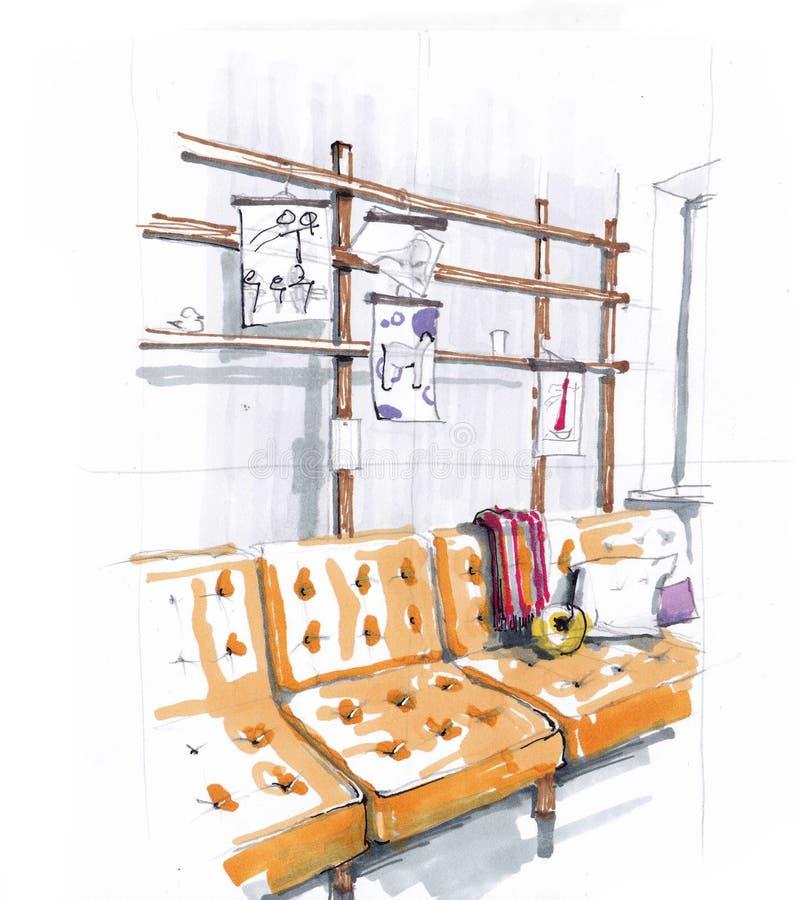 Bosquejo del interior del cuarto de niños en colores calientes Sof? moderno elegante Estantes para los libros El desv?n-estilo stock de ilustración