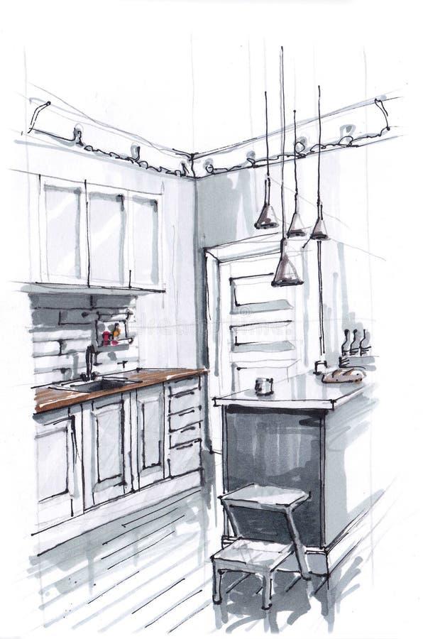 Bosquejo del interior de una cocina acogedora en colores brillantes calientes cocinar área y la mesa de comedor El desv?n-estilo  stock de ilustración