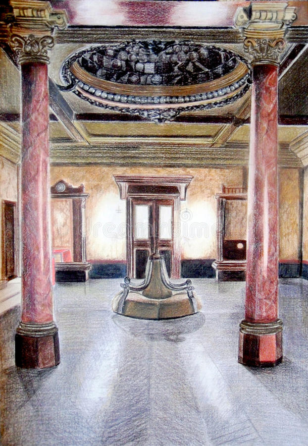 Bosquejo del interior del palacio stock de ilustración