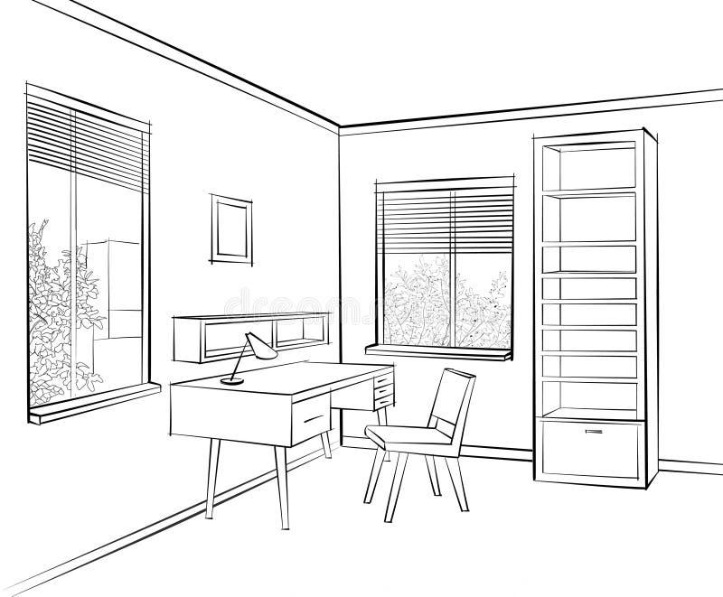 Bosquejo del interior del sitio de Livign Lugar de trabajo en sitio soleado muebles del estilo de los años 60 stock de ilustración