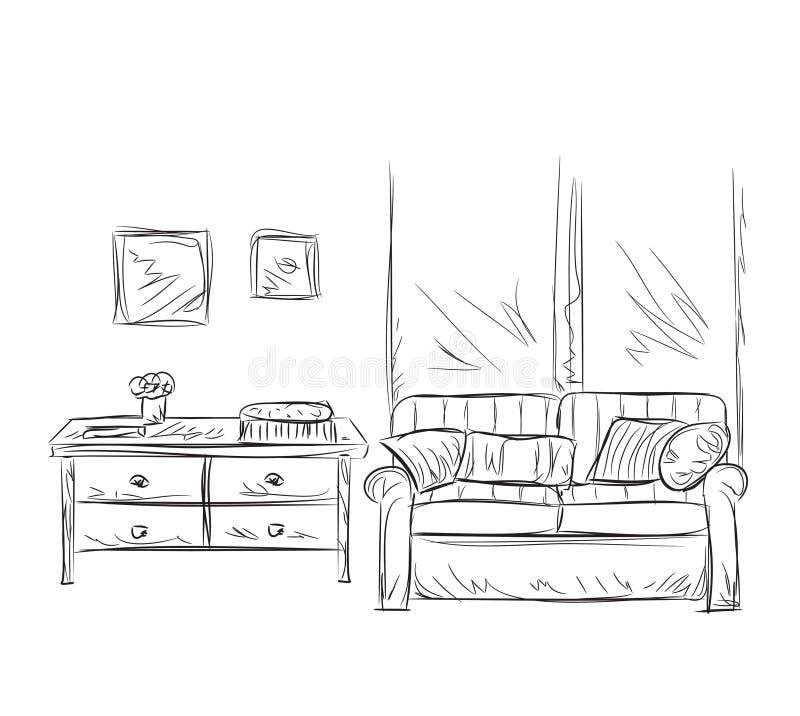 Bosquejo del interior del sitio El lugar para se relaja stock de ilustración