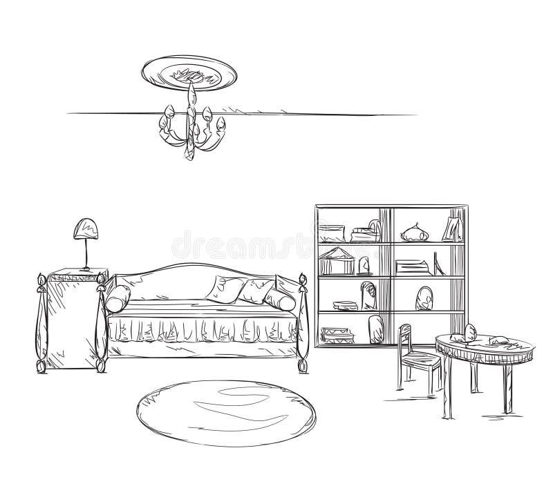 Bosquejo del interior del sitio Sofá y muebles ilustración del vector