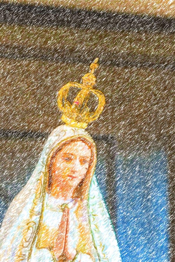 Bosquejo del lápiz del color de nuestra señora de Fátima fotografía de archivo