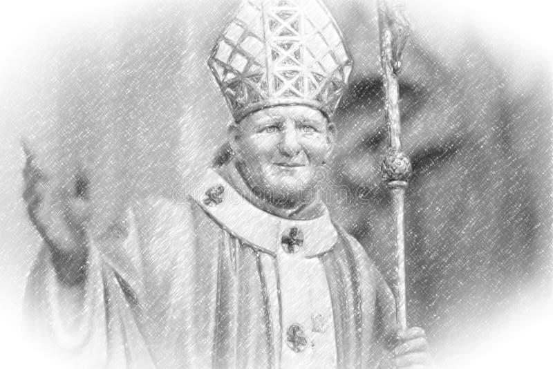 Bosquejo del lápiz con la ilustración del santo Juan Pablo II con crucifijo fotos de archivo libres de regalías