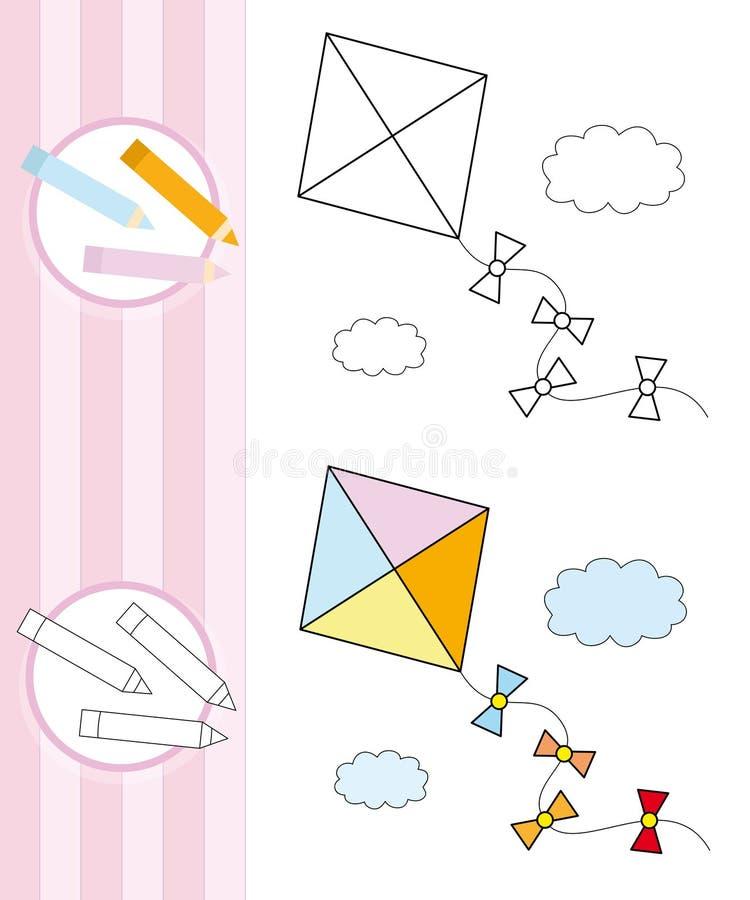 Bosquejo del libro de colorante: cometa del vuelo stock de ilustración