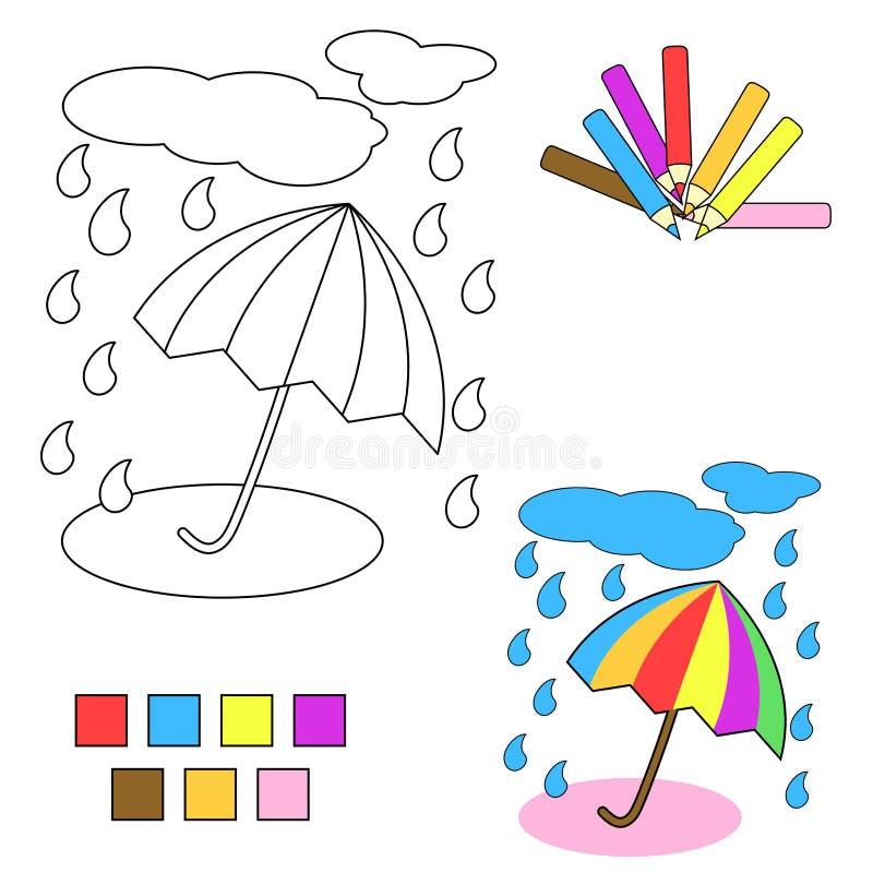 Bosquejo del libro de colorante: paraguas stock de ilustración