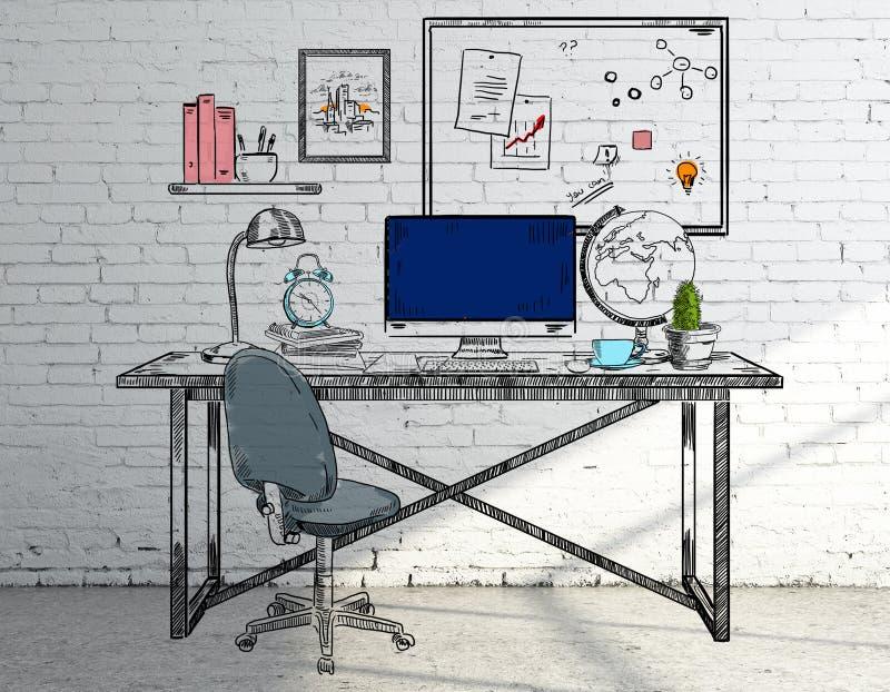 Bosquejo del lugar de trabajo libre illustration
