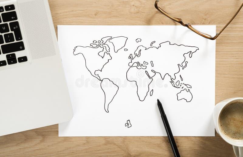 Bosquejo del mapa del mundo fotos de archivo