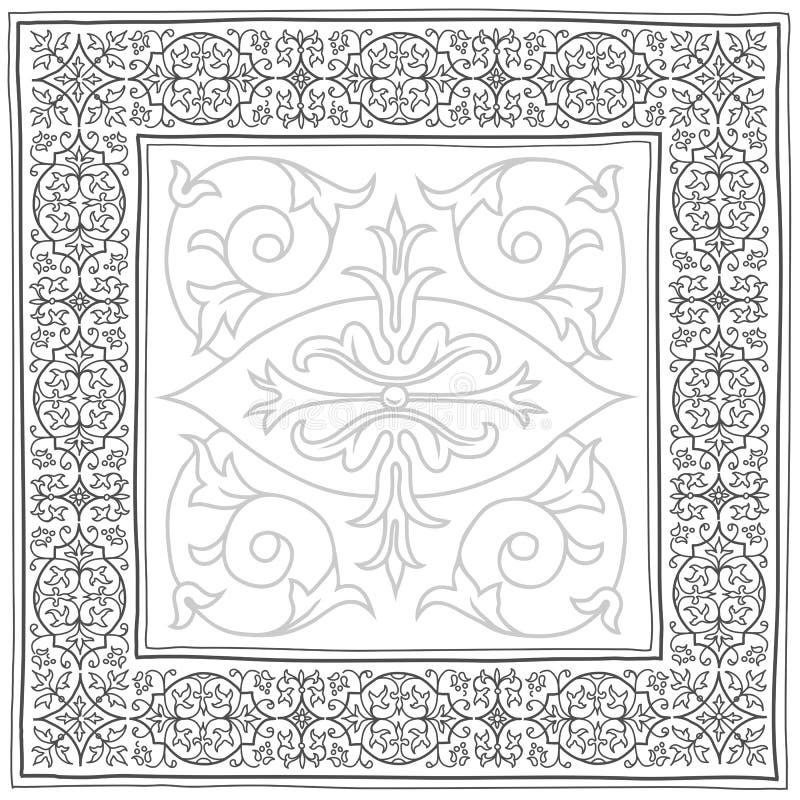Bosquejo del marco del vintage en gris ilustración del vector
