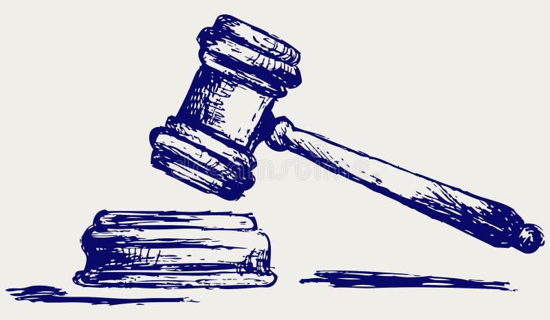 Bosquejo del mazo del juez stock de ilustración