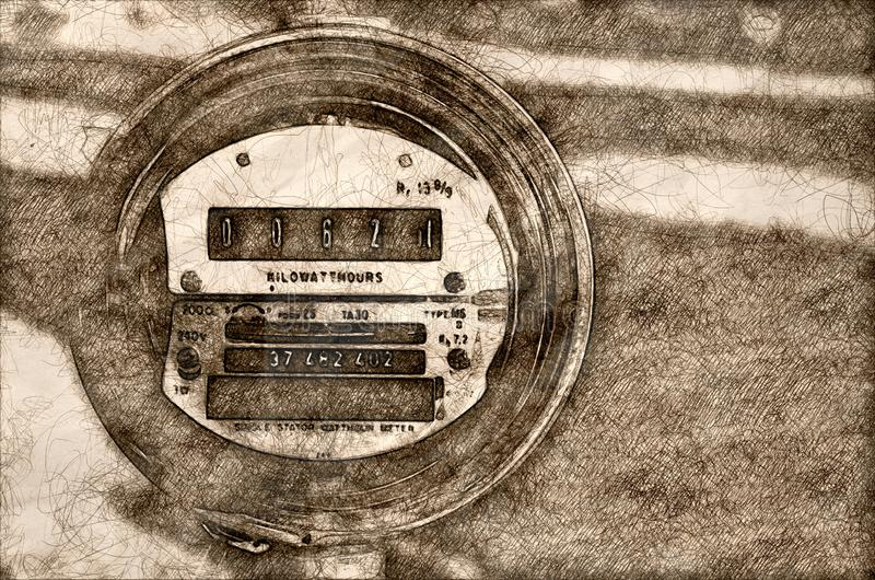 Bosquejo del metro eléctrico que exhibe el consumo de energía actual stock de ilustración