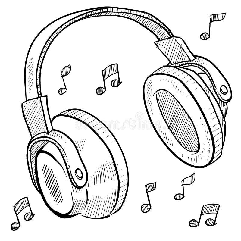 Bosquejo del musical de los auriculares ilustración del vector