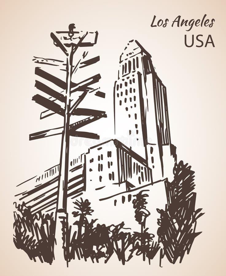 Bosquejo del paisaje urbano de ayuntamiento de Los Ángeles libre illustration