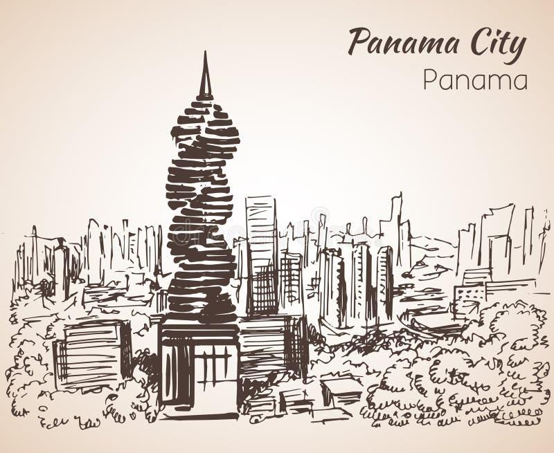 Bosquejo del paisaje urbano de ciudad de Panamá panamá ilustración del vector