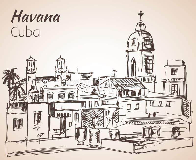 Bosquejo del paisaje urbano de La Habana cuba ilustración del vector