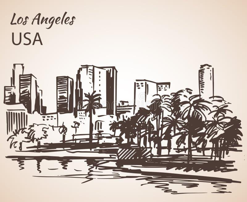 Bosquejo del paisaje urbano de Los Ángeles libre illustration