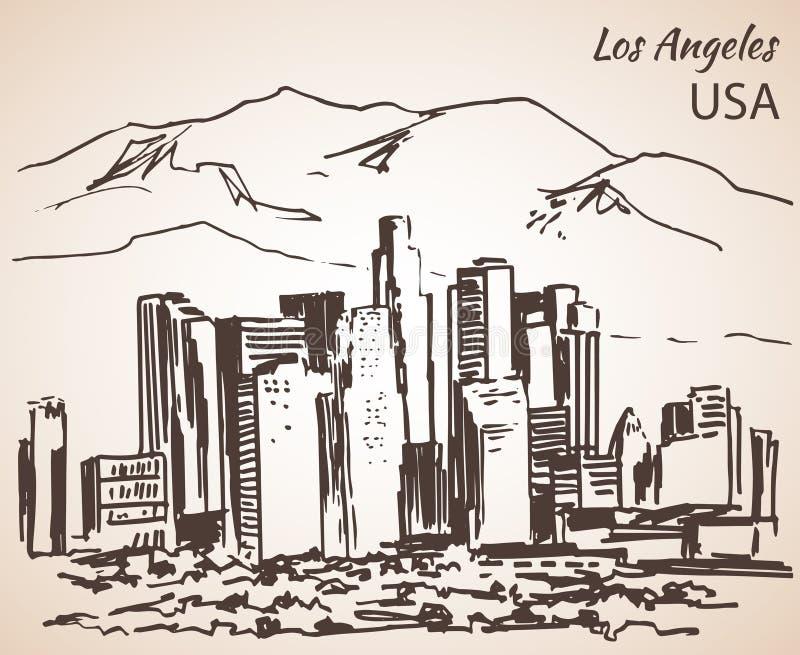 Bosquejo del paisaje urbano de Los Ángeles stock de ilustración