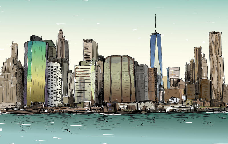 Bosquejo del paisaje urbano en el Midtown de Manhattan de la demostración de Nueva York stock de ilustración