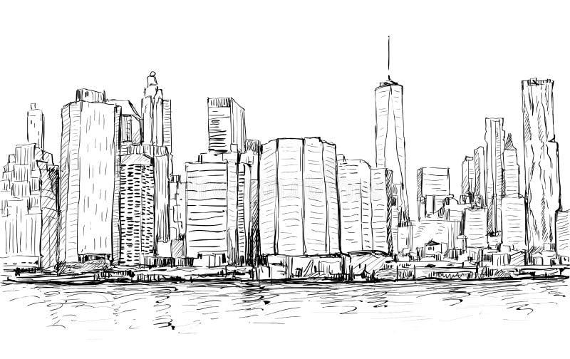 Bosquejo del paisaje urbano en el Midtown de Manhattan de la demostración de Nueva York con los skys stock de ilustración