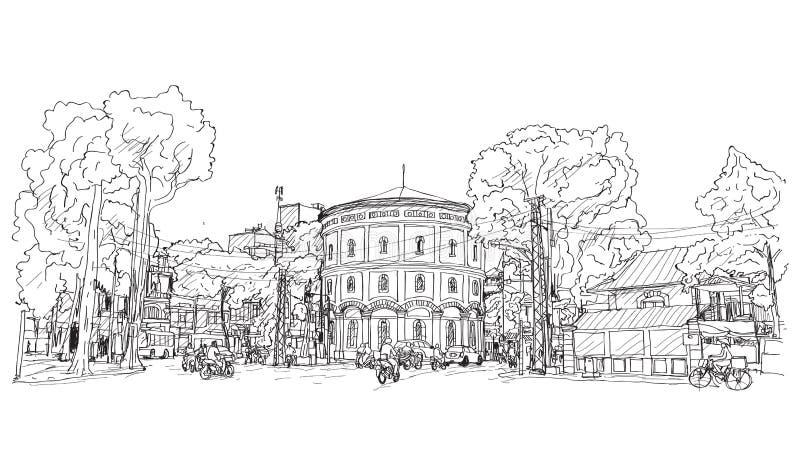 Bosquejo del paisaje urbano Vietnam, Hang Dau Water Tank en Hanoi, libre libre illustration