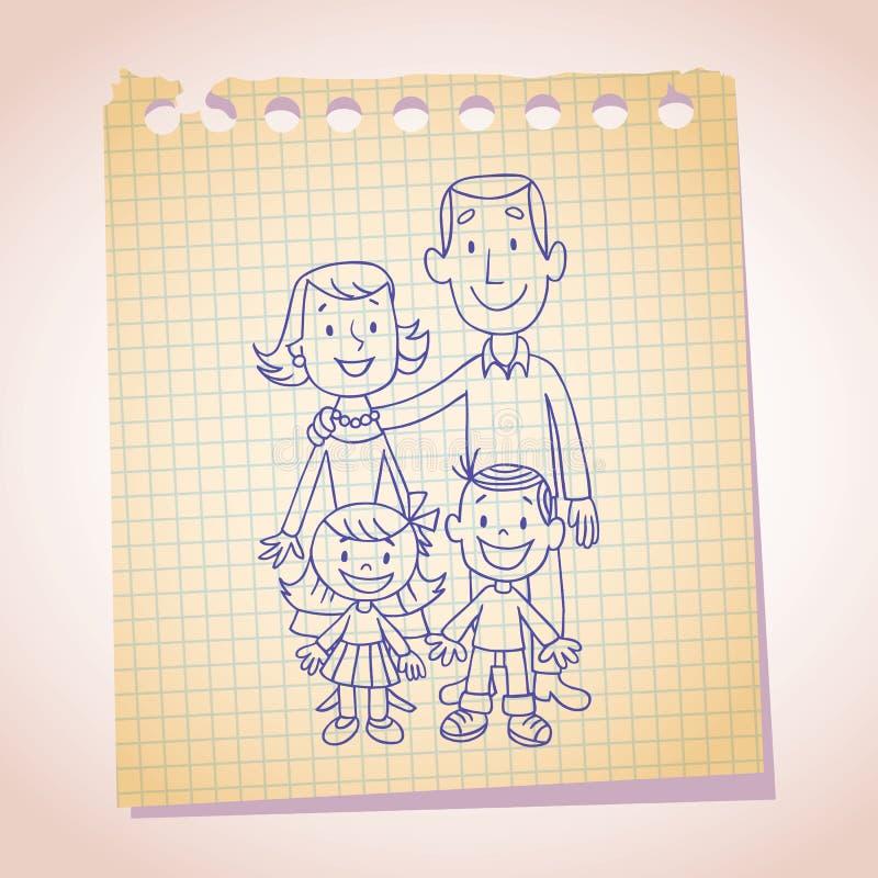 Bosquejo del papel de nota de la familia ilustración del vector
