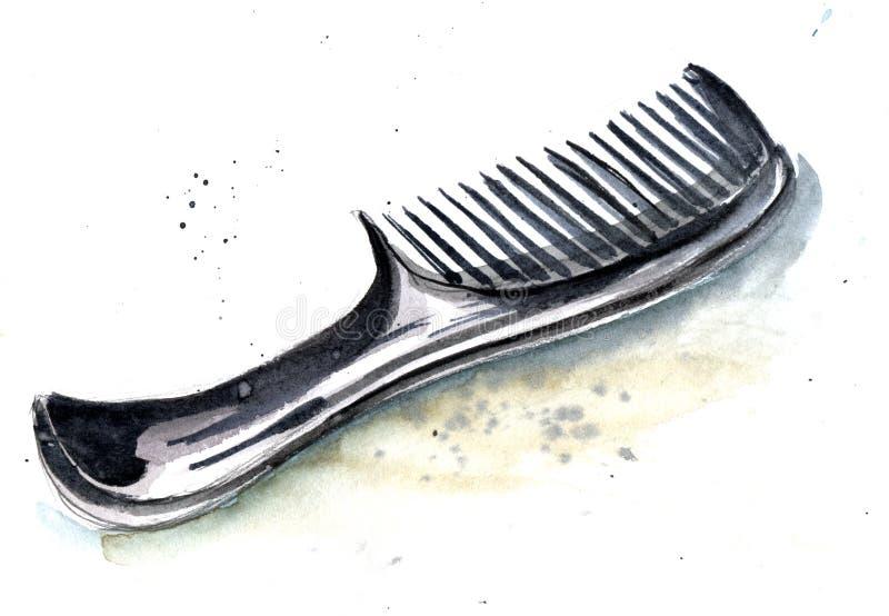 Bosquejo del peine negro del peluquero con una manija larga cómoda ilustración del vector