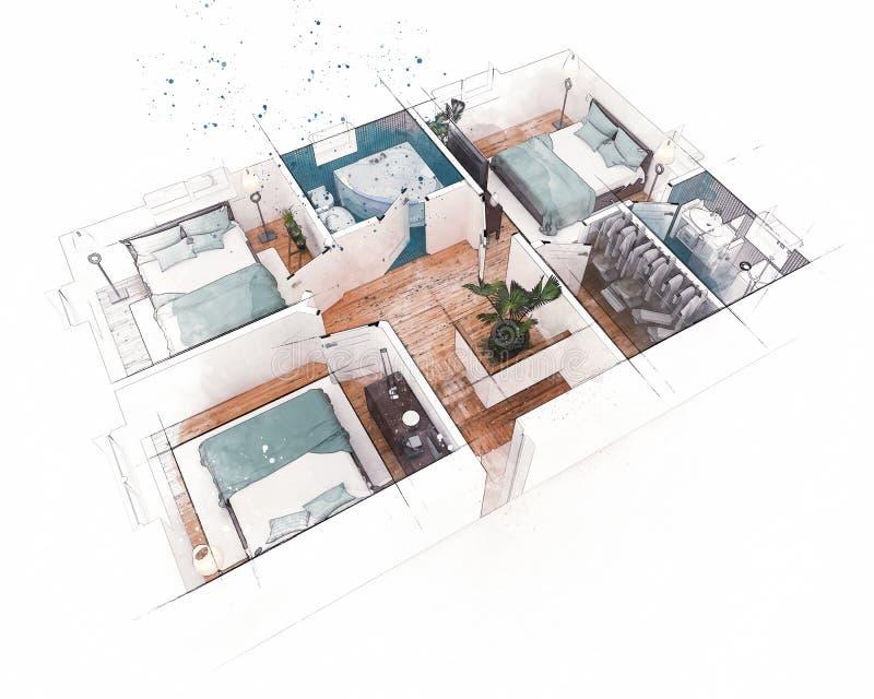 Download Bosquejo del plan de piso stock de ilustración. Ilustración de interior - 100531808