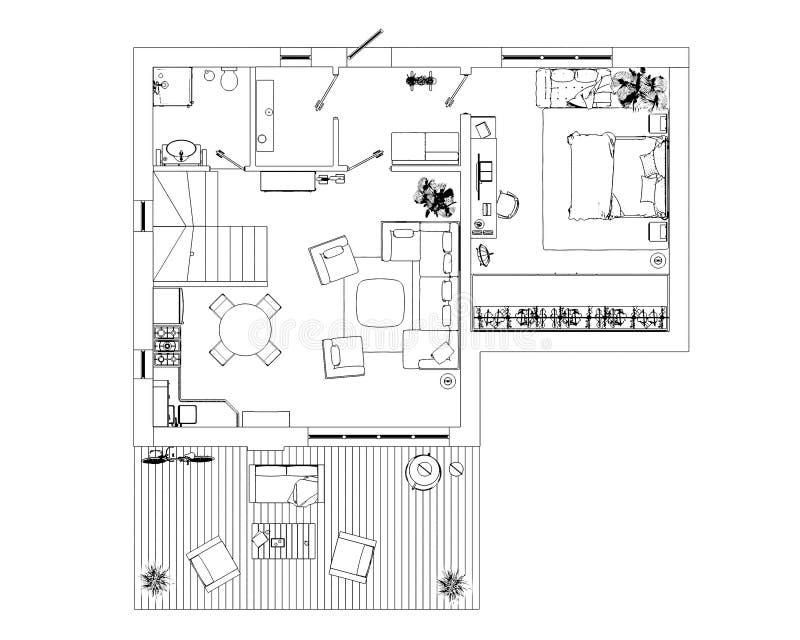 Download Bosquejo del plan de piso stock de ilustración. Ilustración de arquitectónico - 100531843