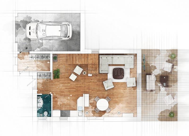 Download Bosquejo del plan de piso stock de ilustración. Ilustración de diseño - 100531922