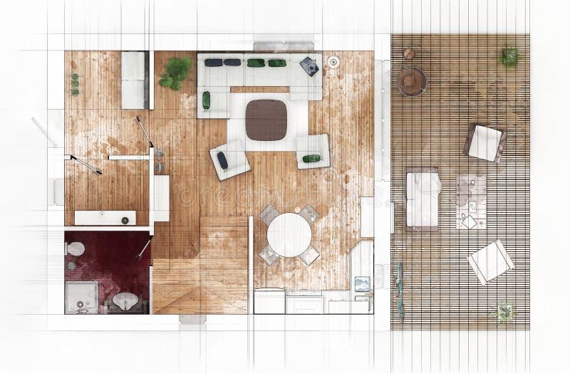 Download Bosquejo del plan de piso stock de ilustración. Ilustración de arquitectónico - 100531995