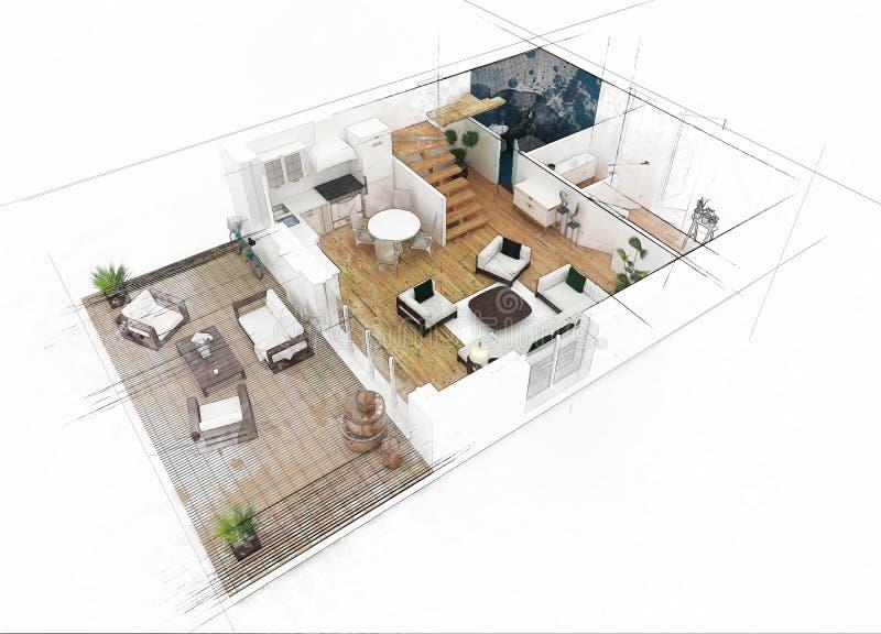 Download Bosquejo del plan de piso stock de ilustración. Ilustración de color - 100532044