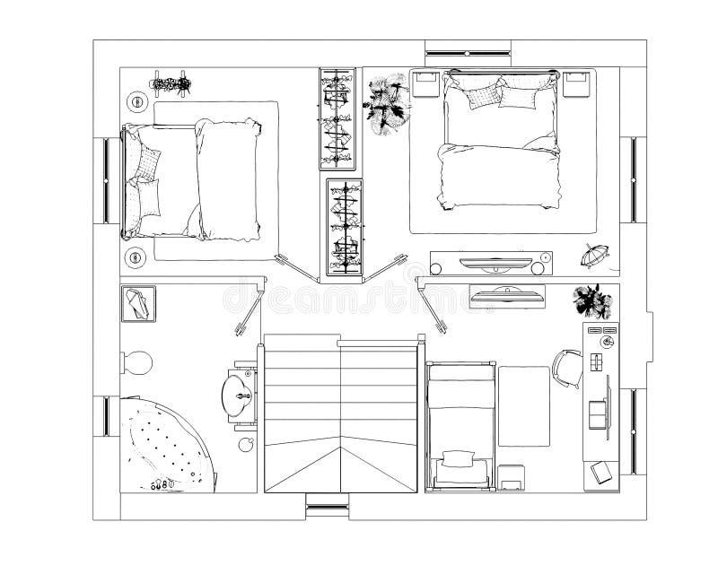 Download Bosquejo del plan de piso stock de ilustración. Ilustración de bosquejo - 100532069