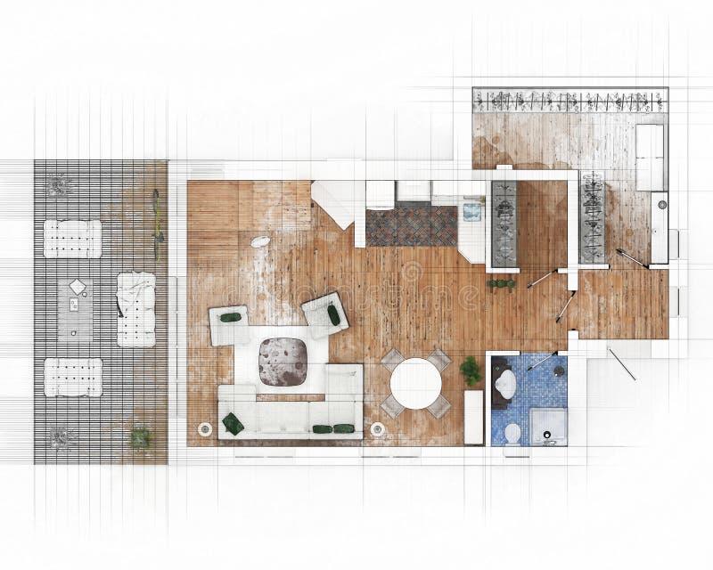 Download Bosquejo del plan de piso stock de ilustración. Ilustración de ilustración - 100532252