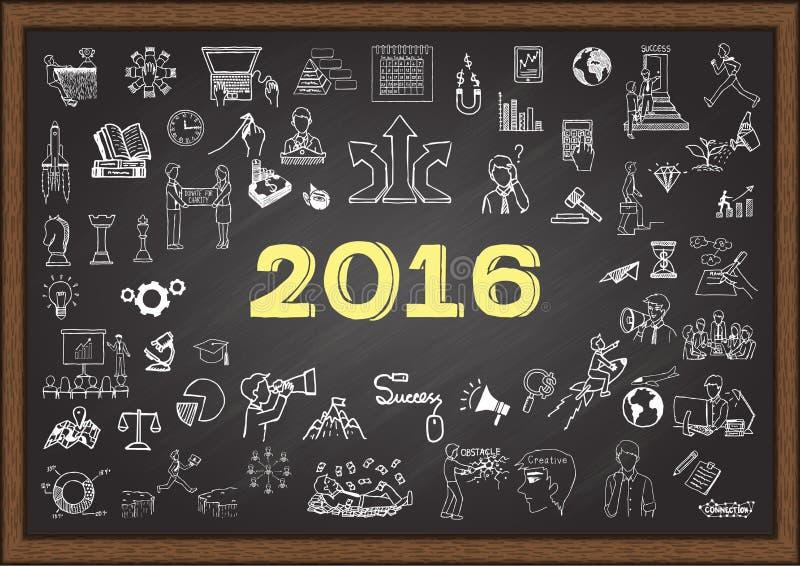Bosquejo del plan empresarial por el año 2016 en la pizarra stock de ilustración