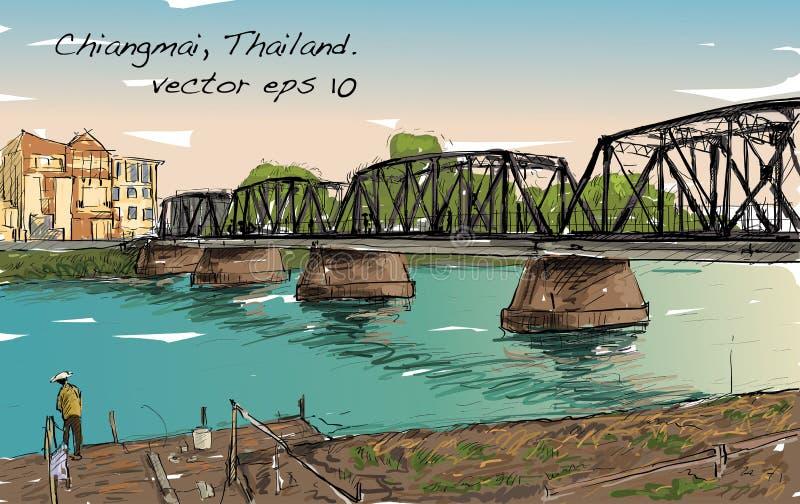 Bosquejo del puente del hierro de la demostración del paisaje urbano en Chiangmai Tailandia libre illustration