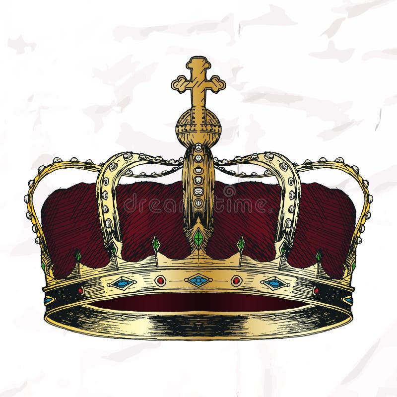 Bosquejo del símbolo de la corona ilustración del vector