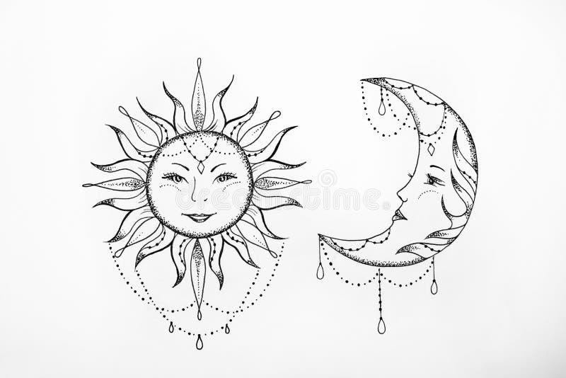 Bosquejo del sol y del fondo del blanco de la luna fotos de archivo libres de regalías